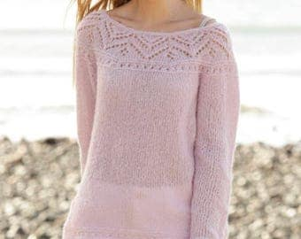Knit woman sweater,  hand knit jumper  with lace pattern, round yoke and vents in the side , Alpaca, Silk