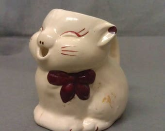 Beige Cat with Maroon Bow Tie and Features Tea Pot