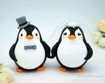 Custom Love Bird Penguin Wedding Cake Toppers-Unique Bride And Groom Penguin Wedding Cake Toppers