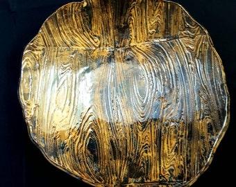 Wooden Imprinted Ceramic Bowl