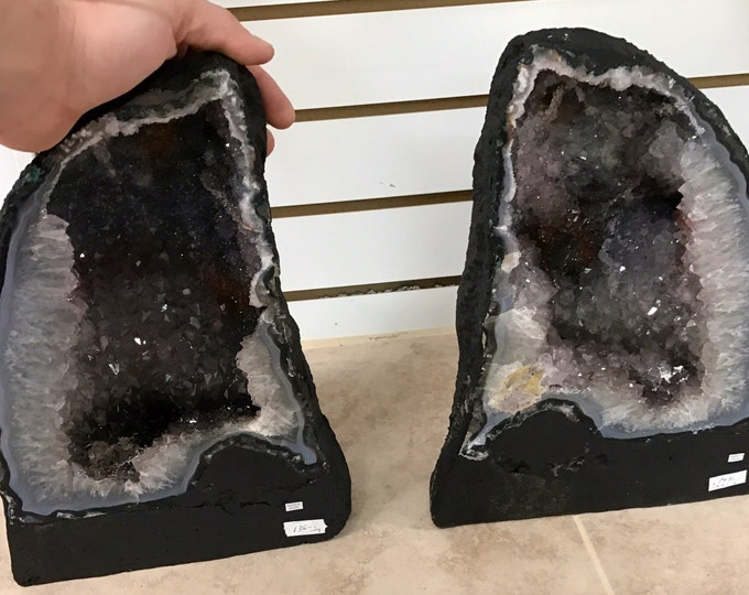 Amethyst Geode Pair 14LBS Each 12 inches tall from Brazil- Home Decor \ Metaphysical \ Druzy \ Crystal \ Reiki \ Amethyst \ Amethyst Crystal