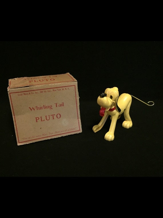 Free Shipping-Vintage-By Marx-Plastic-Wind-Up-Made In Hong Kong-Walt Disney-Pluto-With Whirling Tail-In Original Box