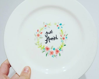 Just Married! Ceramic signing plate