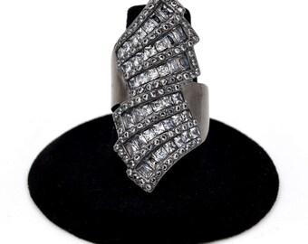 Stainless Steel Gun Metal Wrap Baguette Crytsals Statement Ring