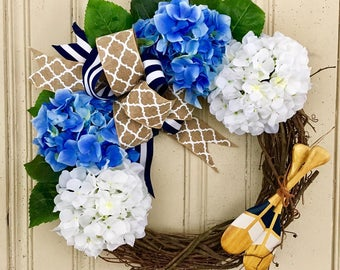Lake House Wreath, Lake House Decor, Rustic Wreath, Cottage Chic Wreath, Summer Wreath, Hydrangea Wreath, Rustic Lake House Wreath