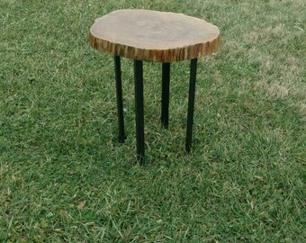 Live / Natural Edge Oak Small Side Table