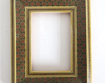 "Vintage Persian Mico Mosaic Wood Frame 5-1/8"" x 3.5"""
