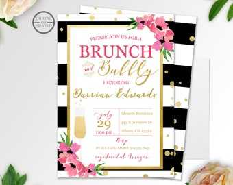 Brunch and Bubbly Bridal Shower Invitation | Black and Gold Bridal Shower Invitation | Black & White Stripe Bridal Shower Invitation