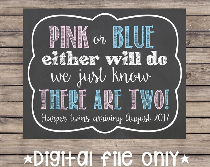 Pink or Blue Either Will Do Pregnancy Sign/Pink or Blue Twins Pregnancy Reveal/Expecting Twins Pregnancy Reveal/Expecting Twins Announcement
