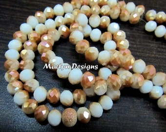 AAA Quality Sunstone Color Hydro Quartz 6mm Size Shaded Beads , Mystic Coated Two tone Rondelle Faceted Beads , approx. 100 Beads per Strand
