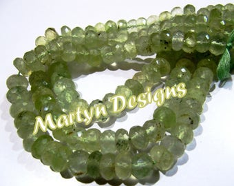 Top and Finest Quality Genuine Prehnite approx. 10mm Size Beads , Rondelle Faceted Beads , Length 10 inches long , Prehnite Gemstone Beads.