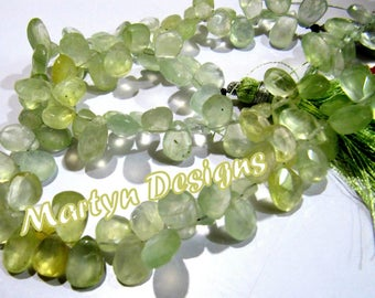 AAA Quality Natural Prehnite Briolette Beads , Faceted Pear Shape approx. 7x12mm Size Beads , Unique Gemstone Beads , Length 8 inches long