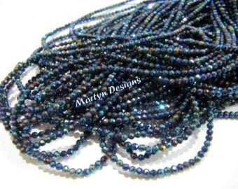 "AAA Quality Genuine Black Spinel Rondelle Faceted Beads , Mystic Blue Coated Natural Black Spinel Beads, Size 2mm, Length 13"", Micro Faceted"