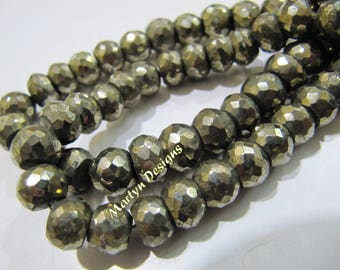 Exclusive Quality Natural Pyrite Far Size Beads , Strand 8 inch long , 6 to 8mm size Pyrite Beads , Rondelle Faceted Gorgeous Pyrite Beads