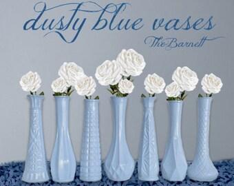 Dusty Blue, Blue Vases, Dusty Blue Wedding, Blue Centerpieces, Lot of Bud Vases, Dusty Blue Decor, Blue Baby Shower Centerpieces