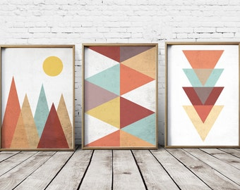Nordic Print Scandinavian Art Wall Art Mountain Print Moon Print Geometric Decor Geometric wall art