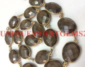 3 feet natural mystic smoky quartz 10-15mm uneven oval faceted link chain