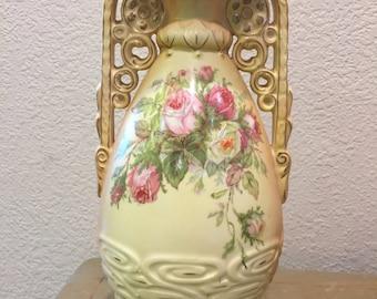Antique Robert Hanke Royal Wettina Porcelain Bisque Matt Vase-Made In Austria- Circa 1882-1920