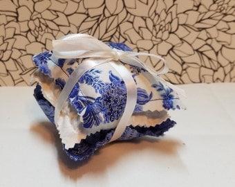 Set Of 3 Lavender Sachets  Blue/White Floral tones