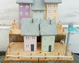 Little Wooden Houses* Home decor*Seaside gift* Coastal gift*Nautical gift*Driftwood art* Recycled*Gift for her*Gift for mum*Wooden ornament*