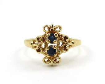 Vintage 14K Yellow Gold Sapphire Ring/Ornate Sapphire Ring/September Birthstone/14K Sapphire Ring/Fine Jewelry