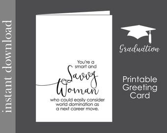 Female Boss Card, Printable card, graduation card, savvy woman, coworker card, card for her, feminist card, strong woman card, card download