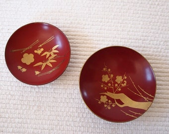 Set of 2 Japanese lacquered sake cup, urushi,Japanese lacquer, Japan table decor