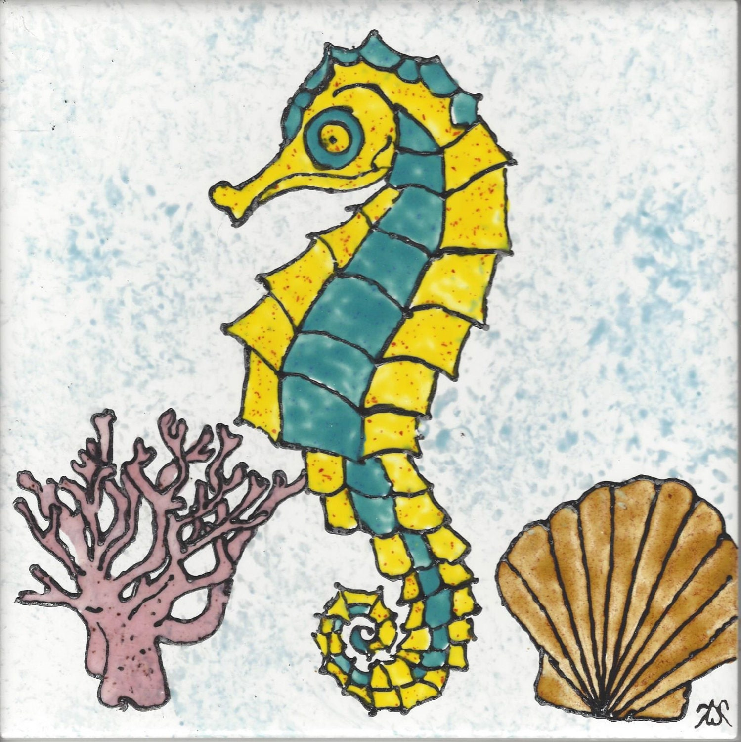Sea Horse #101 Hand Painted Kiln Fired Decorative Ceramic Wall Art ...