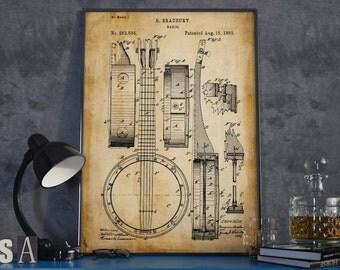 Banjo Patent Print| Gift for Music Teacher| Music Room Decor| Music Instrument Patent Print| Music Poster| HPH191