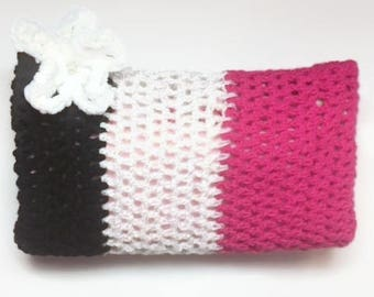 Jasmine Tricolour Striped Crocheted Clutch for Hooks and Notions
