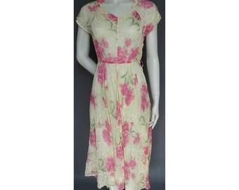 Vintage 1940s/40s Utility Floral Day DRESS Summer Wedding CC41