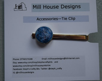 Tie clip with handmade polymer clay inlay
