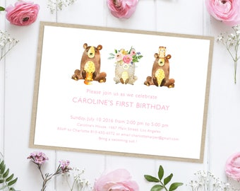 Instant Download Birthday Invitation, Digital Birthday Invitations, Invitations Birthday, First Birthday Girl Invitation, Woodland Animals