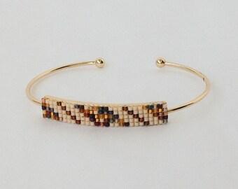 Bracelet band color cream-Brown weaving beads miyuki