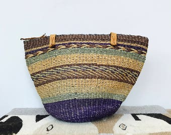 woven straw and leather basket purse - natural straw bucket bag - leather handle natural tote - zipper tote straw bag