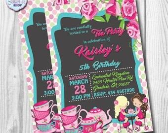 Tea Party Invitation, Tea Party Birthday Invitation, Tea Party Invite, PRINTABLE, You Print