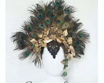 Headdress Crown Fantasy feathers of Peacock Art plant Elf Peacock Halo Showgirl Cabaret