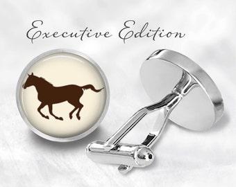 Galloping Horse Cufflinks - Horse Cuff Links - Brown Horse Cufflink - Equestrian Wedding Cufflinks (Pair) Lifetime Guarantee (S0489)
