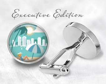 Beachfront Cufflinks - Beach Cuff Links - Ocean Cufflinks - Tropical Cufflink - Hawaiian Cufflink (Pair) Lifetime Guarantee (S0734)