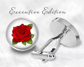 Rose Flower Cufflinks - Bouquet Cuff Links - Red Rose Cufflink - (Pair) Lifetime Guarantee (S0918)