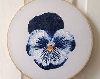 Blue Pansy Hoop Art. 10 Inch Embroidery Hoop Wall Art. Botanical Stitched Wall Hanging. Flower Room Decor.