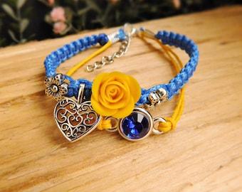 Royal blue bracelet Heart charm bracelet Best friend gift Ukrainian bracelet Flower jewelry Charm bracelet Birthday gift Ukrainian gift