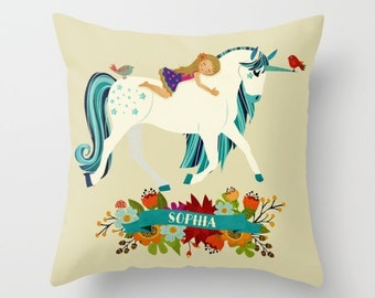 Unicorn Pillow Throw Pillow Personalized Home Decor Girly Girls Room Pillow Girl Colorful Bedroom Decor Girls