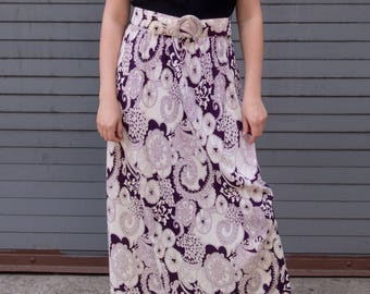 Vintage Black Mock Neck Purple and White Print Maxi Long Gown Dress with Matching Belt