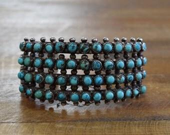 Vintage Zuni Snake Eye Turquoise Sterling Silver Cuff Bracelet