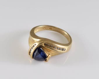 14K Yellow Gold Sapphire and Diamond Ring Size 6 3/4