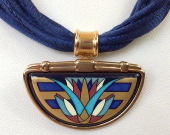 Michaela Frey Wien 24K Gold Plate Enamel Pendant Necklace