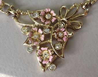 Gold Tone Pink Enamel Flower Rhinestone Choker/Necklace