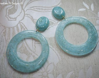 Whimsy Blue - Large Hoop Earrings