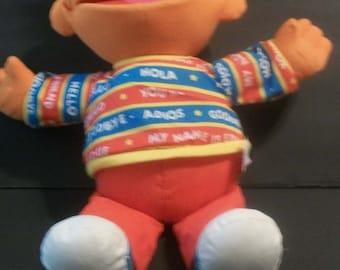 "1995  Talking Sesame Bilingual Ernie English Spanish 16"" Tall Plush Stuffed Animal Nice Overall Some Fading, Surface Wear No Batteries Inc"